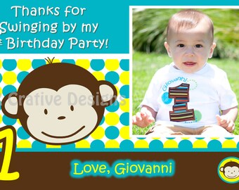 Mod Monkey Thank You Boy Photo 1st Birthday Party Pictures 1 Year Old Card