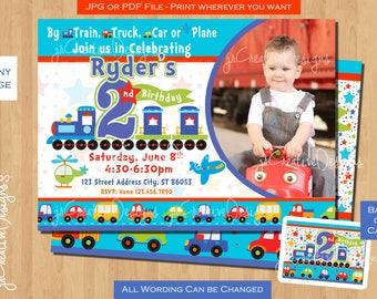 2nd Birthday Invite Invitation Boy Train All Aboard Trucks Airplane Picture Photo Card