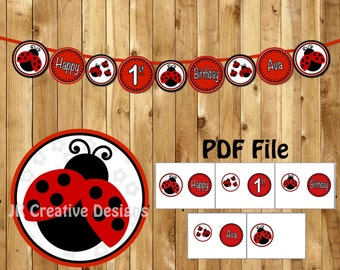 Ladybug Birthday Banner Happy 1st Lady Bug Party Decorations Girl