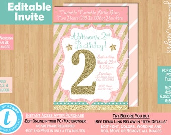 Twinkle Little Star Birthday Invitation 2nd 2 Years Old Girl Invite Two