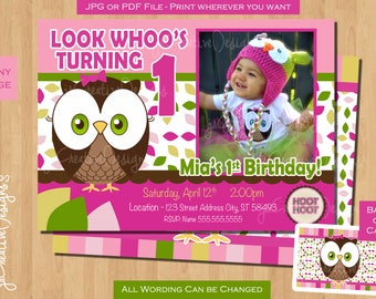 1st Birthday Girl Owl Invite Invitation Look Whoos Turning One
