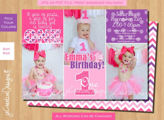 1st Birthday Party Invitation First Girl Purple Pink Photo Custom