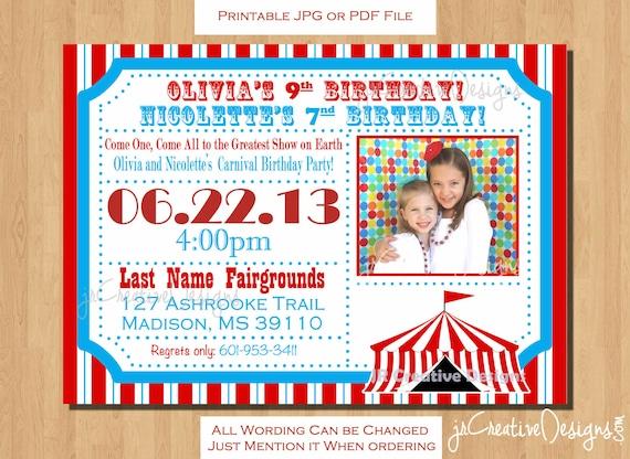 Carnival Invitation Circus Invite Circus Invitation Carnival Invite