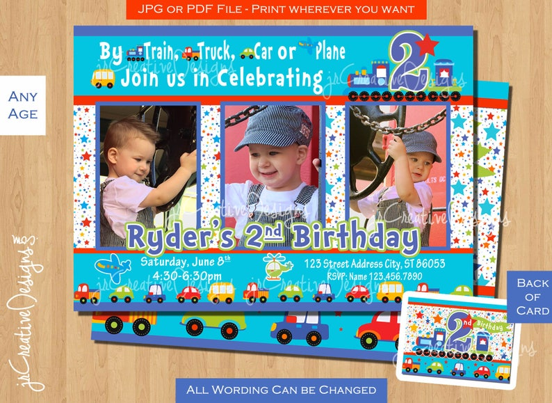 2nd Birthday Invitation Boy Train All