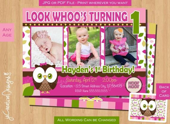 Look Whoos Turning One Invitation Owl Birthday