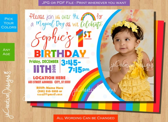 Rainbow Birthday Invite Invitation First Girl