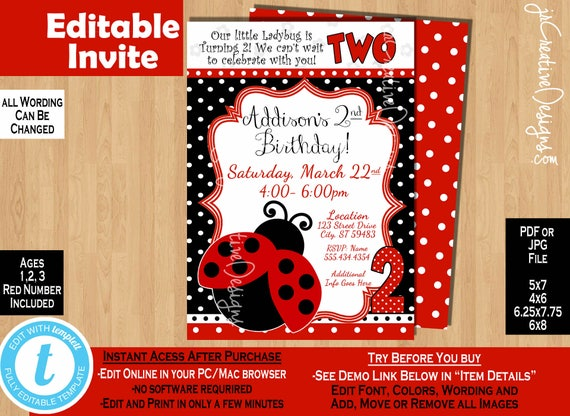 Ladybug Invite 2nd Birthday Invitation Girl Second 2 Years Lady Bug Party