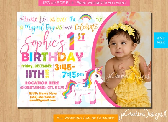 Unicorn Birthday Invitation Girl Party