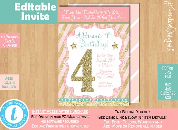 Girl 4th Birthday Invitation Twinkle Little Star Invite Third 4 Years Old Four