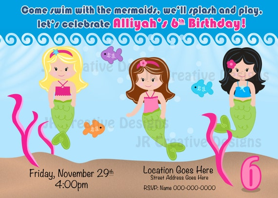 Mermaid Invite Invitation Party The Little Birthday Swimming