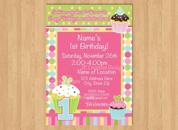 cupcake birthday party invitation girl 1st birthday invitation etsy