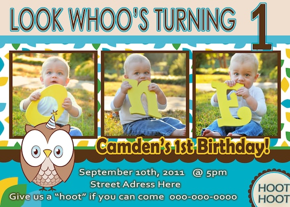 Owl Invite Boy 1st Birthday Party Invitation Look Whoos 1 Year Old Photo