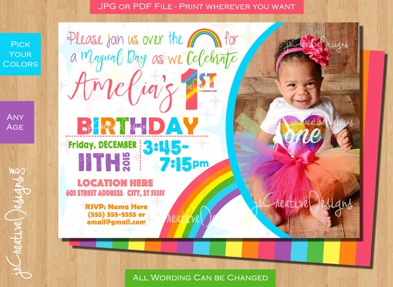 Rainbow Birthday Invitation Invite First Girl Pink Pastel 1st Party Photo