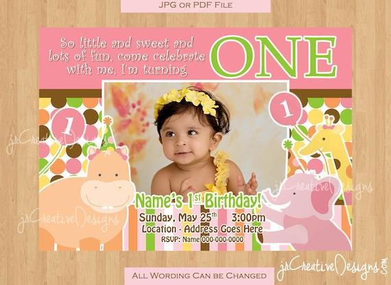 jungle invite girl 1st birthday invitation 1st party invitation