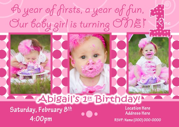 1st birthday girl invitation 1st birthday girl invite etsy