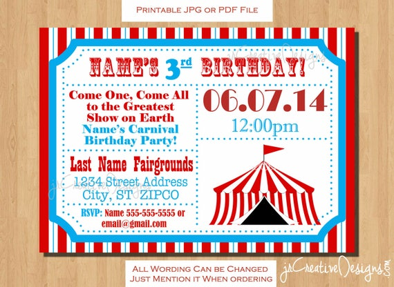 circus birthday invitation circus invitation carnival etsy