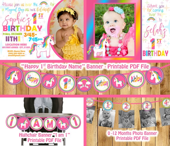 Unicorn Birthday Banner Package Party Decorations Girl 1st