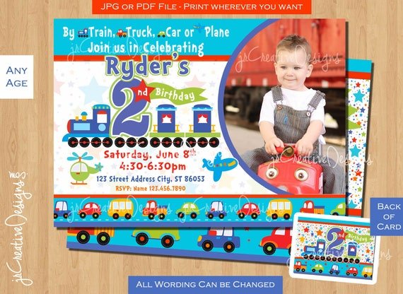 2nd Birthday Invite Invitation Boy Train All Aboard Trucks Airplane Picture Photo Card
