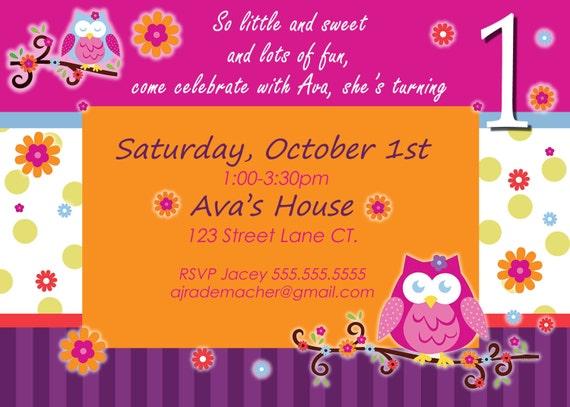 Owl birthday invite owl invitation owl invite owl blossom etsy image 0 filmwisefo