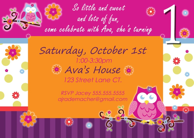 Owl Birthday Invite Invitation Blossom