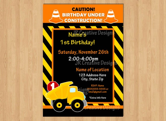 Construction Invite Invitation Boy Birthday 1st Party Dump Truck Cones Hard Hat