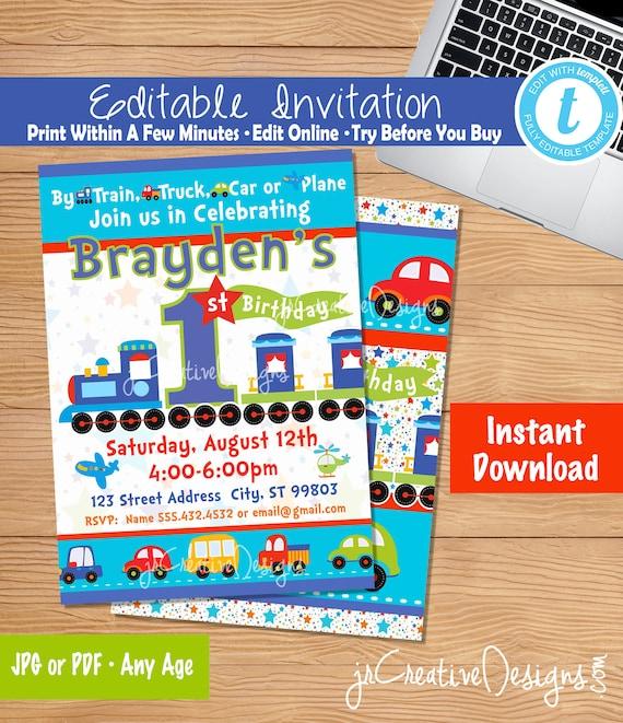 Train Birthday Invitation Editable Instant