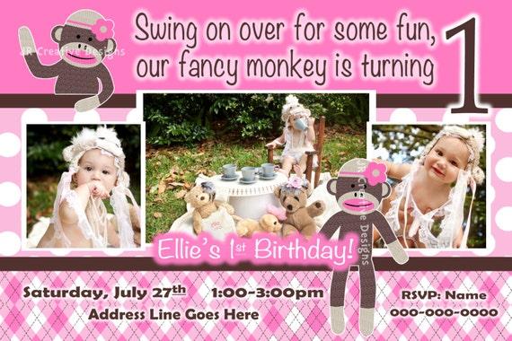 Sock Monkey Girl Invitation