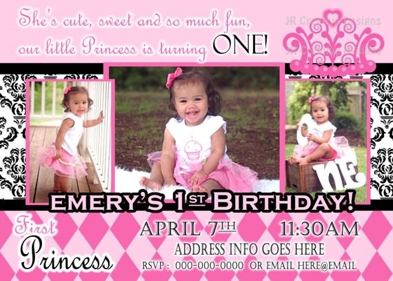 Princess Invite Invitation 1st Birthday Girl Elegant Damask Party