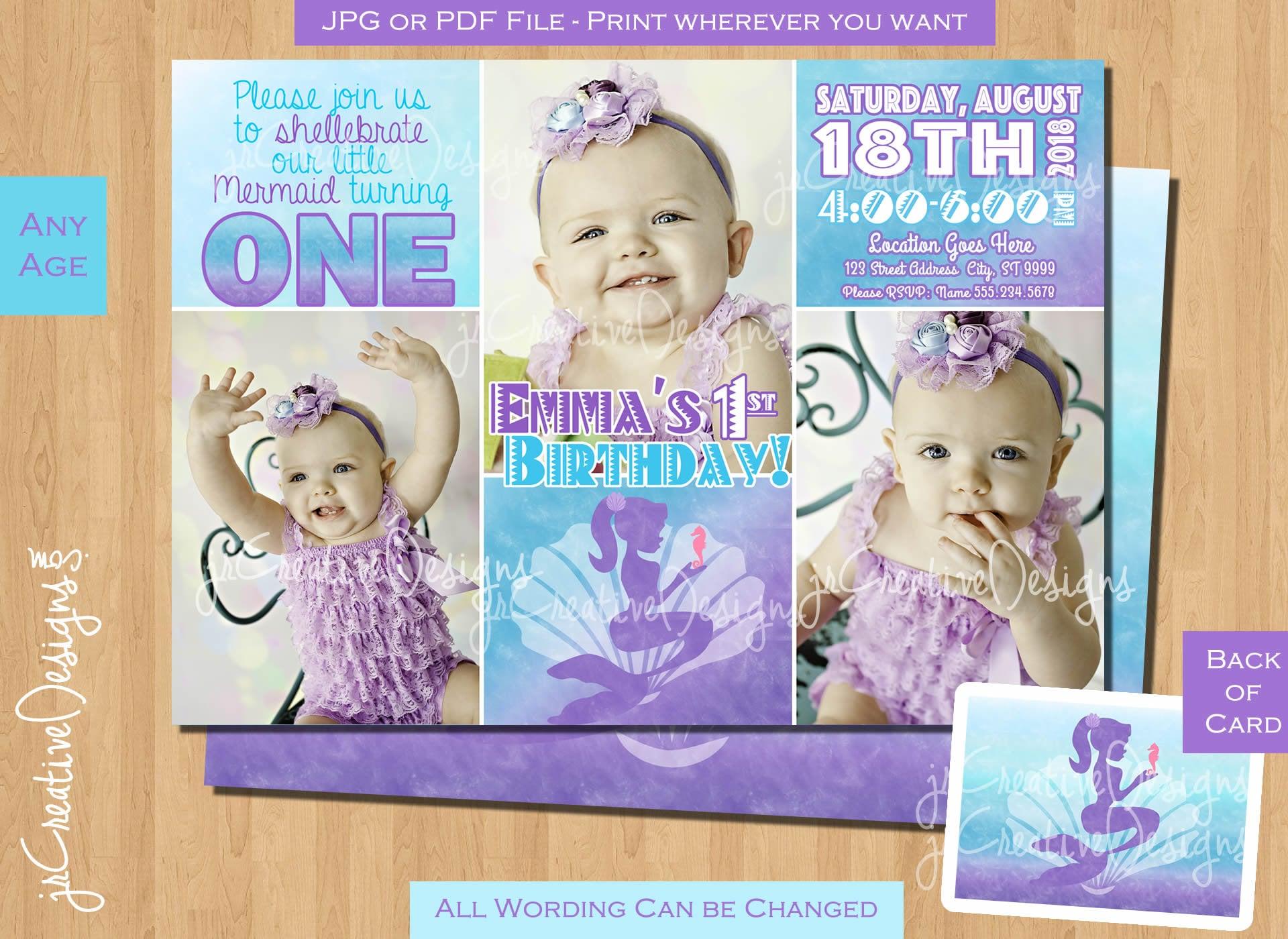 Mermaid First Birthday Invitation 1st