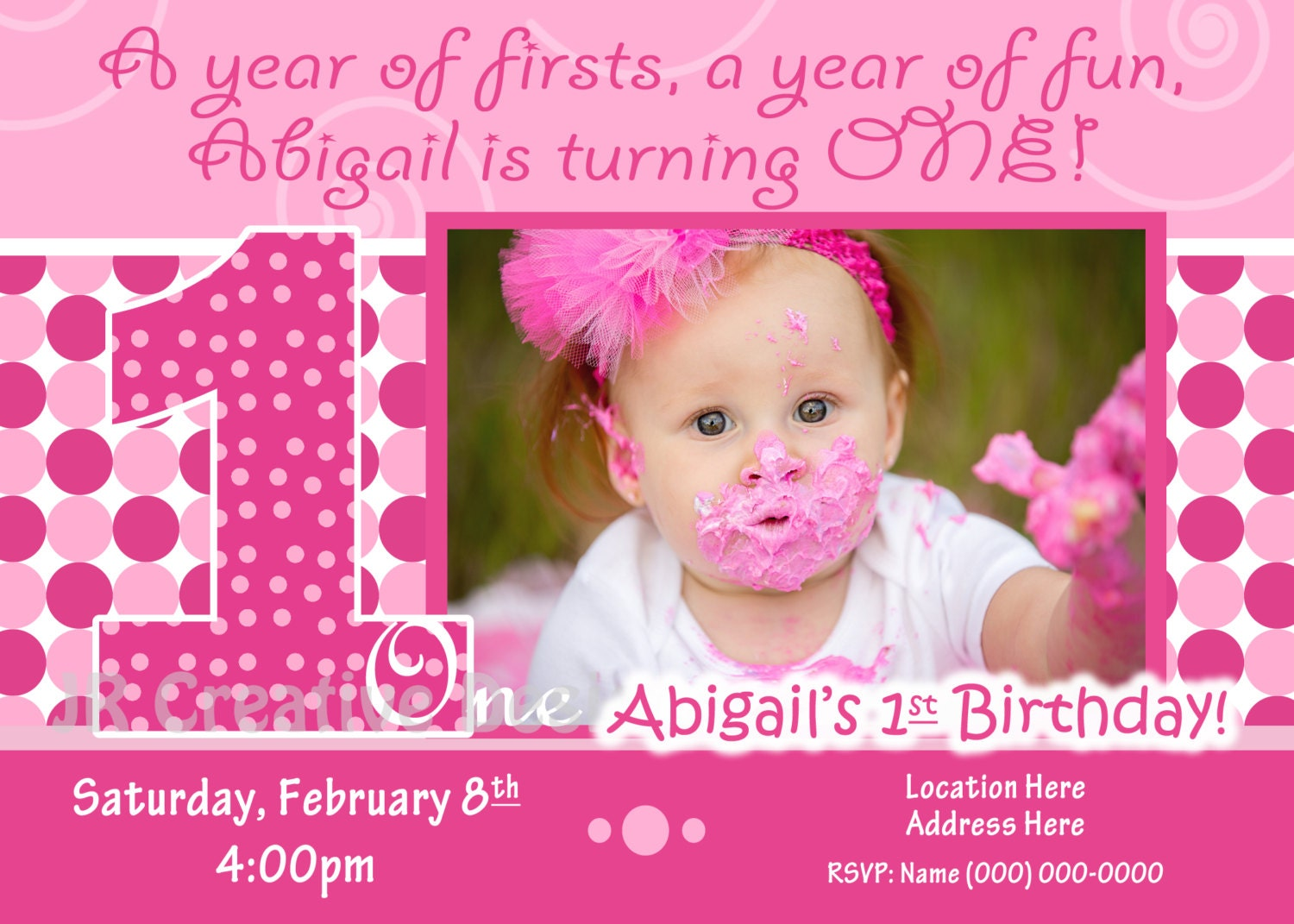 1st Birthday Girl Invite Invitation