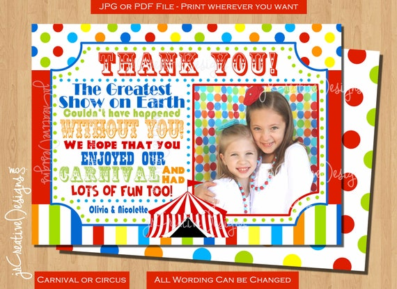 Carnival Thank You Cards With Photo Carnival Thank You Tag Carnival