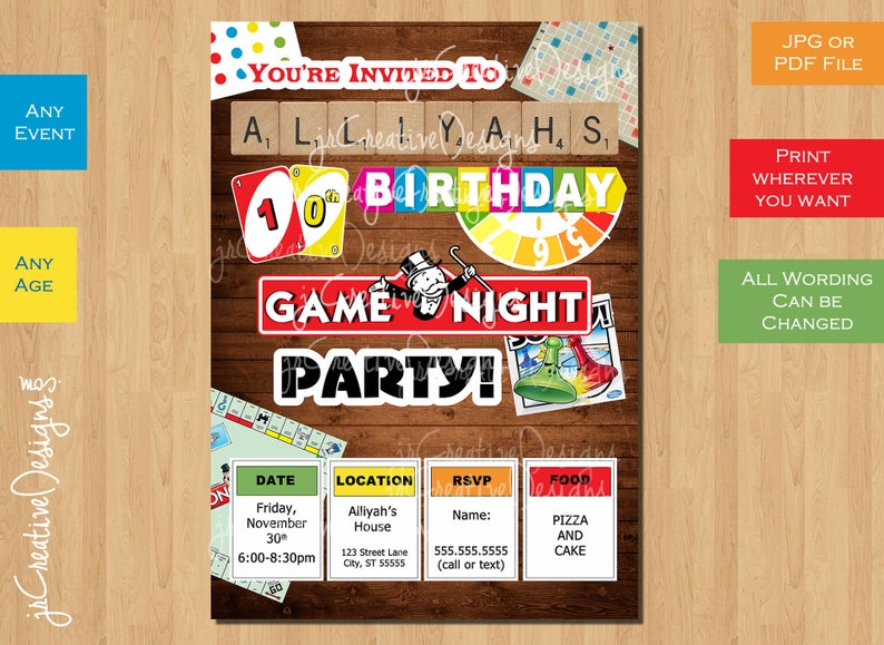 Game Birthday Party Invitation Coed Birthday Party Game Night Etsy