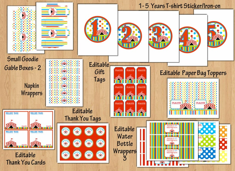 Carnival Birthday Party Package Circus Birthday Party Package Circus Invitation Banners 1st Birthday Party Invite Any Age Editable Files