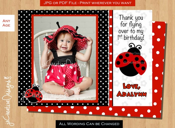 Ladybug Thank You Lady Bug Thank You First Birthday Thank You Etsy
