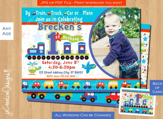 1st Birthday Invite Train All Aboard Boy 1st Birthday Etsy