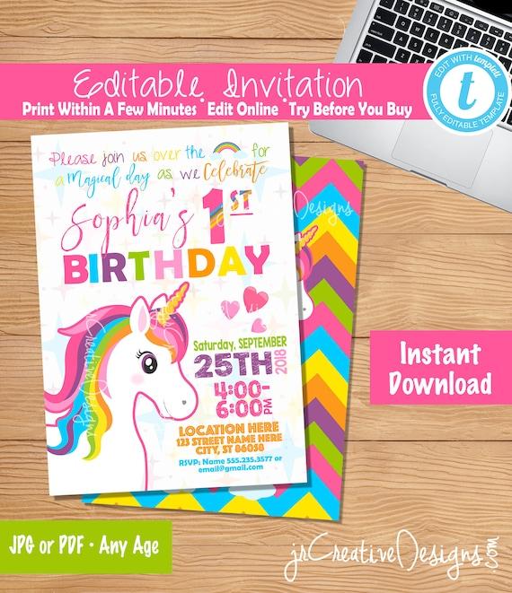 Unicorn Invitation Download