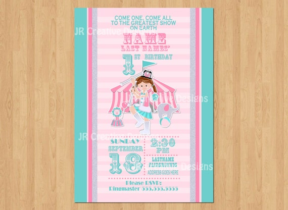 Girl Circus Invitation Carnival Invite 1st Birthday Party Themed