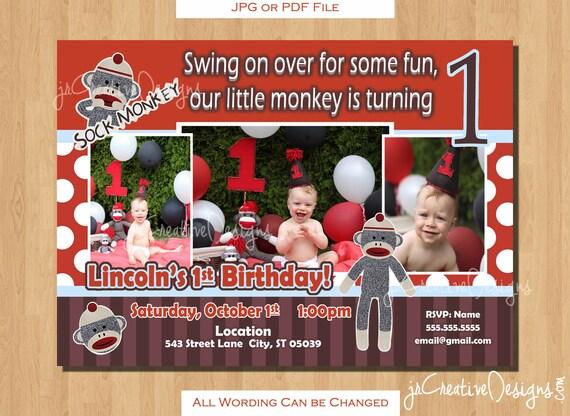Sock Monkey Invitation Birthday