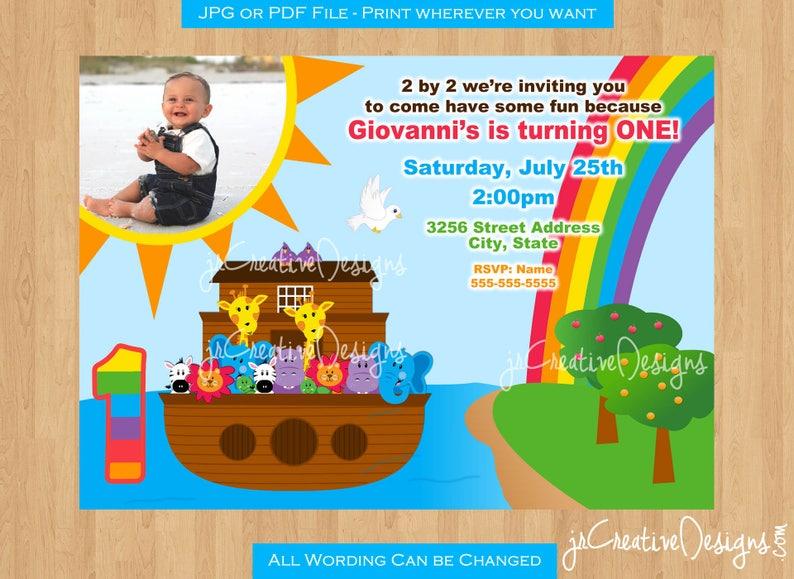 Noahs Ark Invitation Birthday Party