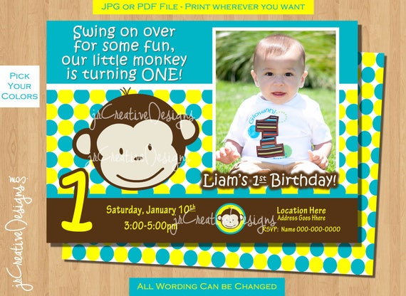 Monkey Birthday Invite Invitation Photo 1st