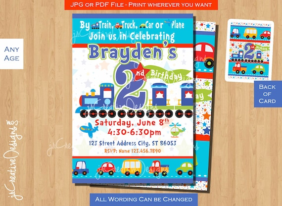 Boy 2nd Birthday Invitation Train All Aboard Trucks Airplane Invite Baby Dayz