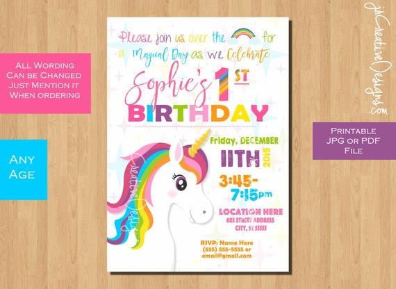 unicorn invitation unicorn birthday