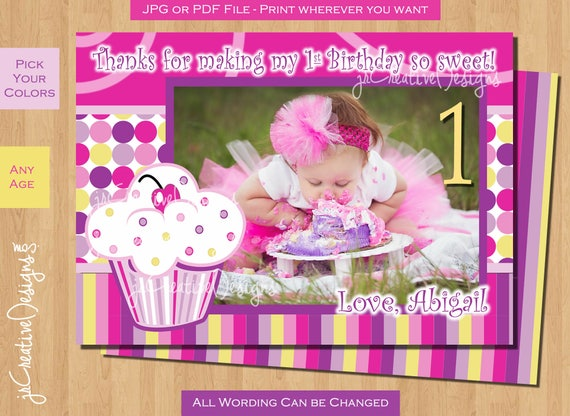 First Birthday Thank You Card Cupcake Thank You Birthday Party Etsy
