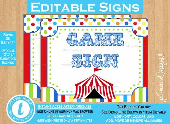 Carnival Game Signs Circus Game Signs Carnival Signs Circus