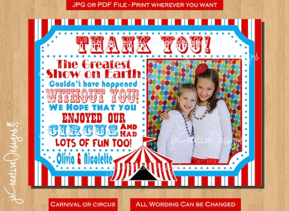 Circus Thank You Cards With Picture Circus Thank You Cards Etsy