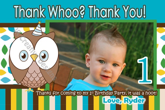Owl Thank You Boy 1st Birthday Party Look Whoos