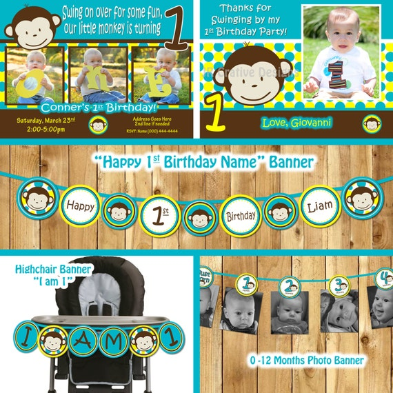 Mod Monkey Birthday Party Package Invitation Invite 1st Boy Printable 1 Year Old Card