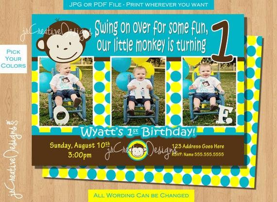 Monkey Birthday Invite Monkey Invitation Photo 1st Birthday Party Boy Pictures Invite 1 Year Old 1st Birthday Invitation Boy 1 Year Invite