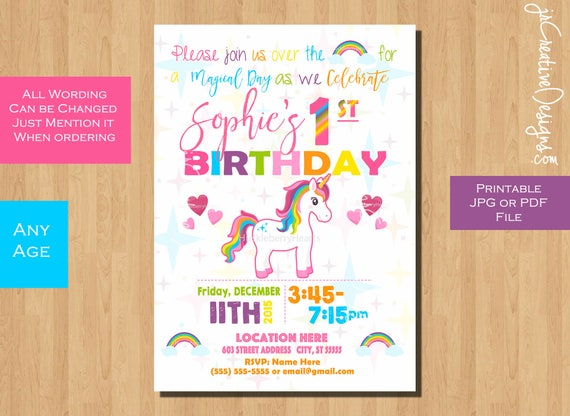 Unicorn Party Birthday Invitation Girl