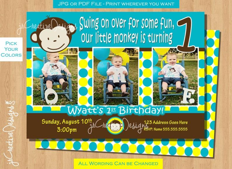 Mod Monkey Invitation Invite Photo 1st Birthday